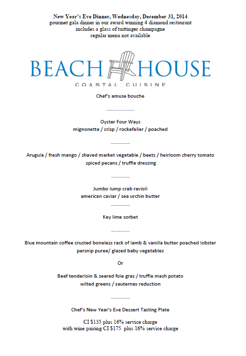 Toast The New Year With A Gourmet Gala On Last Evening Of Guests Westin Grand Cayman May Take Their Seats At Beach House For 4 Diamond